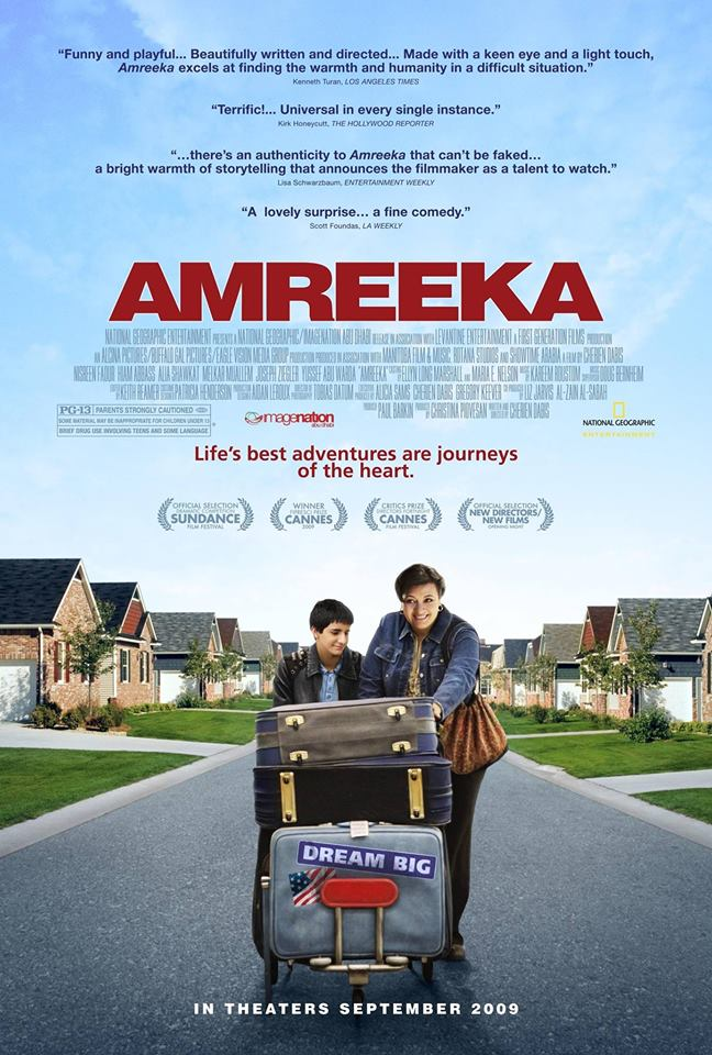 Movie poster with clouds and blue sky and title Amreeka in red text